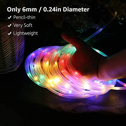 518TsgQDy7L. AC  - LE LED Rope Light with Timer, Multi Colored, 8 Mode, Low Voltage, Waterproof, 33ft 100 LED Indoor Outdoor Plug in Light Rope and String for Deck, Patio, Bedroom, Pool, Boat,Landscape Lighting and More