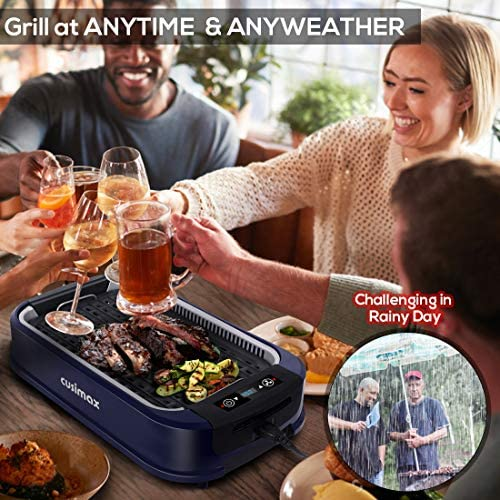 519bypnU9rL. AC  - Indoor Grill Electric Grill Griddle CUSIMAX Smokeless Grill, Portable Korean BBQ Grill with Turbo Smoke Extractor Technology, Non-stick Removable Plates, Dishwasher-Safe, Tempered Glass Lid,1500W