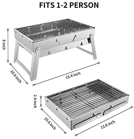 51AYOmOagcL. AC  - Sunkorto 15.4x10.6x8 Inch Folded Charcoal BBQ Grill Set, Stainless Steel Portable Folding Charcoal Barbecue Grill, Barbecue Tool Kits for Outdoor Picnic Patio Backyard Camping Cooking