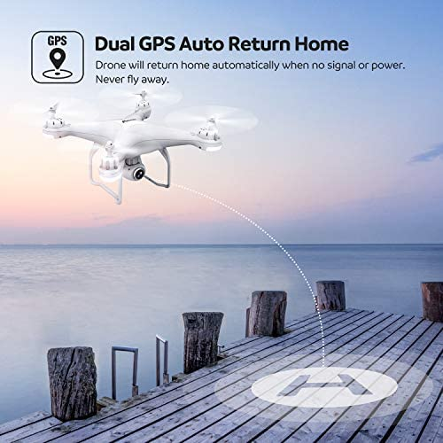 51C9DUO4cnL. AC  - Potensic T25 GPS Drone, FPV RC Drone with Camera 1080P HD WiFi Live Video, Dual GPS Return Home, Quadcopter with Adjustable Wide-Angle Camera- Follow Me, Altitude Hold, Long Control Range, White