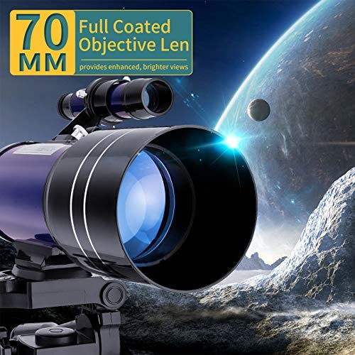 51CrD4PMgSL. AC  - BNISE Telescope for Kids 10 and Up, 70mm Aperture 300mm Kids Telescope for Astronomy Beginners, 15-150X Astronomical Refractor Telescope with Adjustable Tripod, Phone Adapter, Wire Shutter and Bag