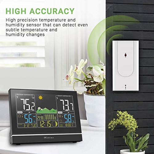 51FydnLmJLL - Wittime Latest 2076 Weather Station, Wireless Indoor Outdoor Thermometer, High Precision Temperature and Humidity, Weather Forecast and Barometer, Calendar with Moon Phase, 7.5-inch HD Large Screen
