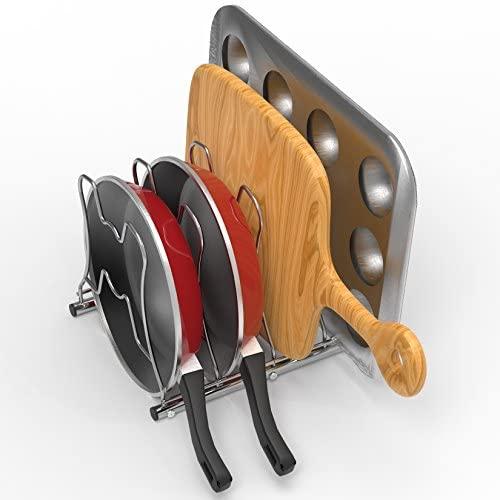 51JD nKef+L. AC  - SimpleHouseware Kitchen Cabinet Pantry Pan and Pot Lid Organizer Rack Holder, Chrome