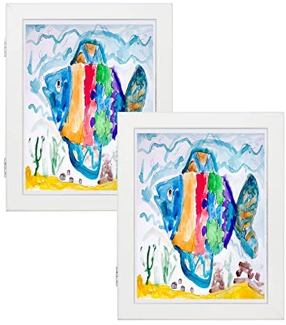 51KyOYQmOaL. AC  - Art Frames for Wall and Tabletop Display with Front Opening for Easy Showcase, Great for Kids Drawings, Artworks, Children Art Projects, Schoolwork, Home or Office (White, 8.5x11 Frame, 2-Pack)