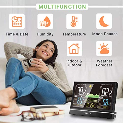 51MylqqGUHL - Wittime Latest 2076 Weather Station, Wireless Indoor Outdoor Thermometer, High Precision Temperature and Humidity, Weather Forecast and Barometer, Calendar with Moon Phase, 7.5-inch HD Large Screen