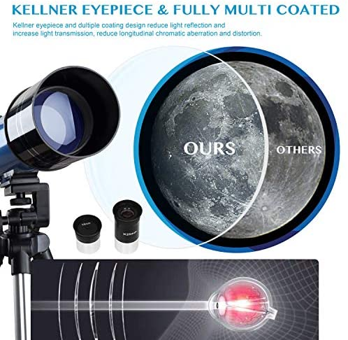 51N1++7I92L. AC  - AOMEKIE Telescopes for Adults Astronomy Beginners 70mm/400mm Kids Telescope with Phone Adapter Tripod Finderscope Erect-Image Diagonal and Moon Filter