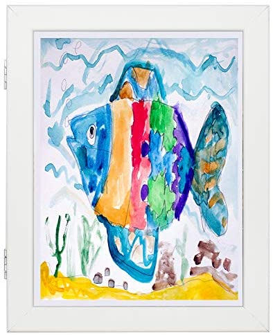 51NGBGMmz5L. AC  - Art Frames for Wall and Tabletop Display with Front Opening for Easy Showcase, Great for Kids Drawings, Artworks, Children Art Projects, Schoolwork, Home or Office (White, 8.5x11 Frame, 2-Pack)