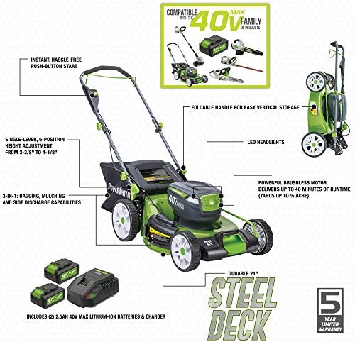 51NSn1Y6N2L. AC  - POWERSMITH PLM14021H 21 in. 40V Brushless Cordless Lithium Ion Battery Powered Lawn Mower with (2) 40V Batteries and Charger, Bagger, Mulch and Side Discharge Attachements Included