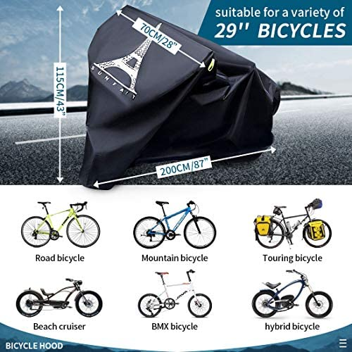 "51NbvwhylsL. AC  - Bike Covers Outdoor Storage Waterproof,Bicycle Cover Waterproof Outdoor,210D Tear-Proof and Double Seamed Heat Sealing Material Anti-Sun Snow and dust,Suitable for Covering Two or Three 29""Bikes."