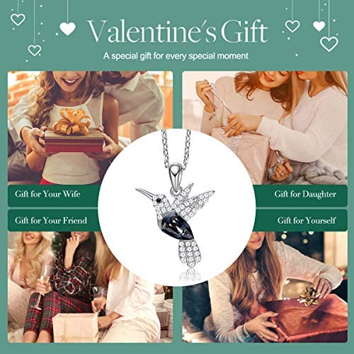 51RxDUdJR9L. AC  - CDE Valentines Day Necklace Gifts for Women Hummingbird Necklaces S925 Sterling Silver Necklaces for Women Embellished with Crystals from Austria Valentines Jewelry Gifts for Women Animal Necklace for Girlfriend Mom