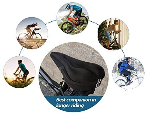 51SLzABtG2L. AC  - Mountain Bike Seat Cushion Cover Extra Soft Gel Bicycle Seat Cover, Soft Silicone Padded Bike Saddle Cover, Anti-Slip Bicycle Seat Cushion Spinning with Waterpoof&Dust Resistant Cover Outdoor Cycling