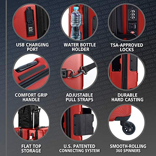 51V8WoFNqdL. AC  - TACH V3 Hard Shell Carry On Luggage 22x14x9   Carry on Luggage with Spinner Wheels & Patented Built-In Connecting System   One Piece Rolling Suitcase Links 6 Bags At Once (Red)