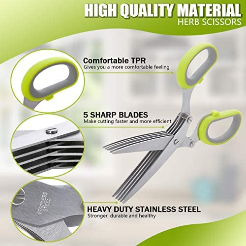 51WVR5hkmfL. AC  - LHS Herb Scissors with 5 Multi Stainless Steel Blades and Safe Cover Kitchen Gadgets Cutter, Kitchen Chopping Shear, Mincer, Sharp Dishwasher Safe Kitchen Gadget, Culinary Cutter