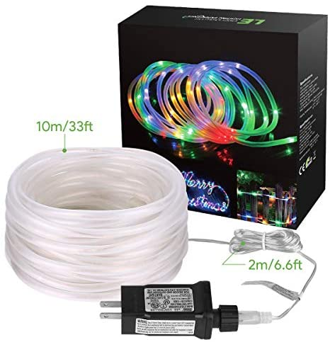 51XwI6k86RL. AC  - LE LED Rope Light with Timer, Multi Colored, 8 Mode, Low Voltage, Waterproof, 33ft 100 LED Indoor Outdoor Plug in Light Rope and String for Deck, Patio, Bedroom, Pool, Boat,Landscape Lighting and More