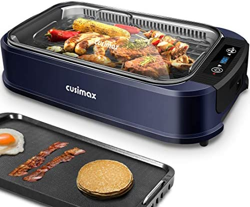 51aTyl bYkL. AC  - Indoor Grill Electric Grill Griddle CUSIMAX Smokeless Grill, Portable Korean BBQ Grill with Turbo Smoke Extractor Technology, Non-stick Removable Plates, Dishwasher-Safe, Tempered Glass Lid,1500W