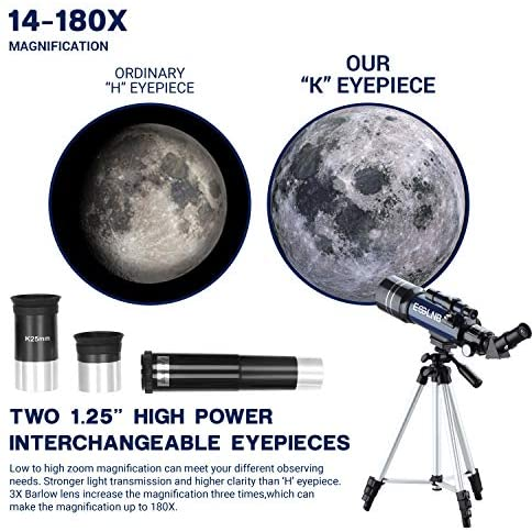 51ccDWF1nuL. AC  - ESSLNB Telescope for Kids 70mm Refractor Telescope with Smartphone Adapter 51.6in Tripod Astronomical Telescopes for Astronomy Beginners Adults 3X Barlow Moon Filter Fully Coated Lens