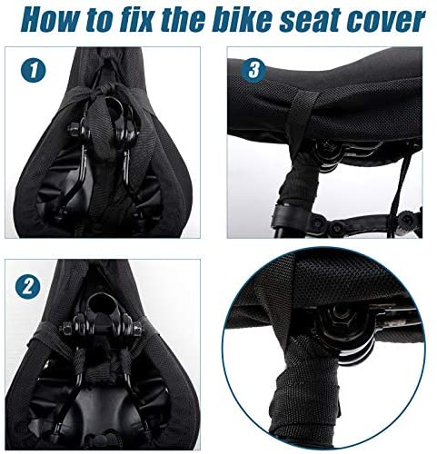 51en75utQZL. AC  - Mountain Bike Seat Cushion Cover Extra Soft Gel Bicycle Seat Cover, Soft Silicone Padded Bike Saddle Cover, Anti-Slip Bicycle Seat Cushion Spinning with Waterpoof&Dust Resistant Cover Outdoor Cycling