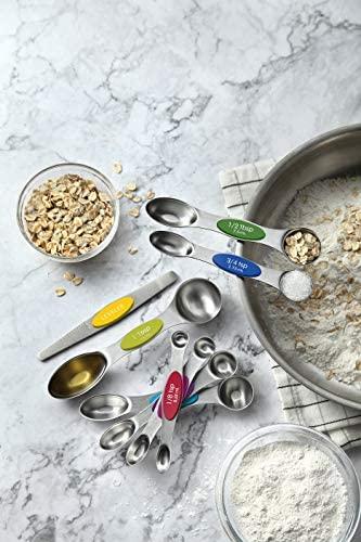 51mrppFsGJL. AC  - Spring Chef Magnetic Measuring Spoons Set, Dual Sided, Stainless Steel, Fits in Spice Jars, Multi-Color, Set of 8