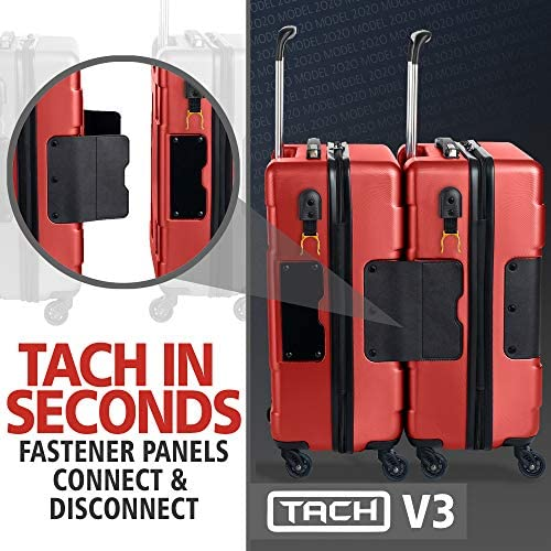 51nHAiNDC L. AC  - TACH V3 Hard Shell Carry On Luggage 22x14x9 | Carry on Luggage with Spinner Wheels & Patented Built-In Connecting System | One Piece Rolling Suitcase Links 6 Bags At Once (Red)