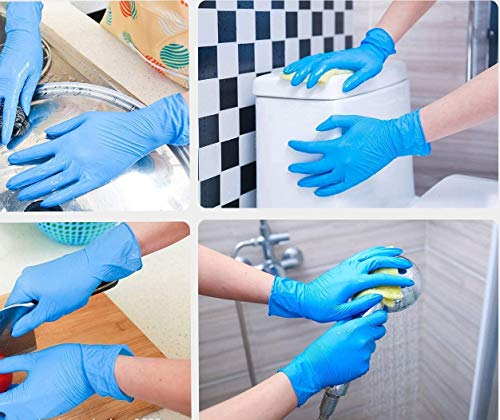 51tbZji08ZL - WowTowel 100pcs Disposable Nitrile Gloves Exam Gloves Latex-free, Powder-free Glove for Cleanin, 1count, Large