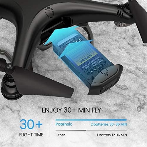 51x9mepkZjL. AC  - Potensic D58, FPV Drone with 2K Camera, 5G WiFi HD Live Video, GPS Auto Return, RC Quadcopter for Adult, Portable Case, 2 Battery, Follow Me, Easy Selfie Expert Beginner