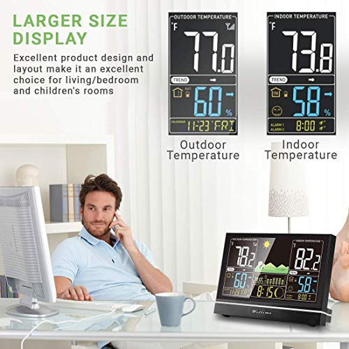 51xW6H1Ls8L - Wittime Latest 2076 Weather Station, Wireless Indoor Outdoor Thermometer, High Precision Temperature and Humidity, Weather Forecast and Barometer, Calendar with Moon Phase, 7.5-inch HD Large Screen