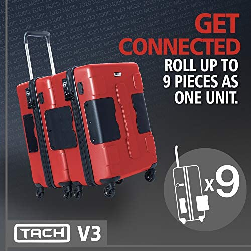 51zs23Iu oL. AC  - TACH V3 Hard Shell Carry On Luggage 22x14x9 | Carry on Luggage with Spinner Wheels & Patented Built-In Connecting System | One Piece Rolling Suitcase Links 6 Bags At Once (Red)