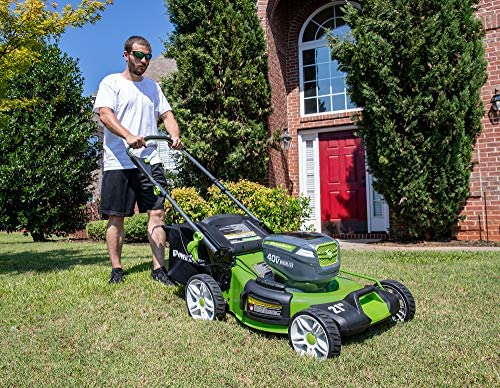 61VC+KA+nYL. AC  - POWERSMITH PLM14021H 21 in. 40V Brushless Cordless Lithium Ion Battery Powered Lawn Mower with (2) 40V Batteries and Charger, Bagger, Mulch and Side Discharge Attachements Included