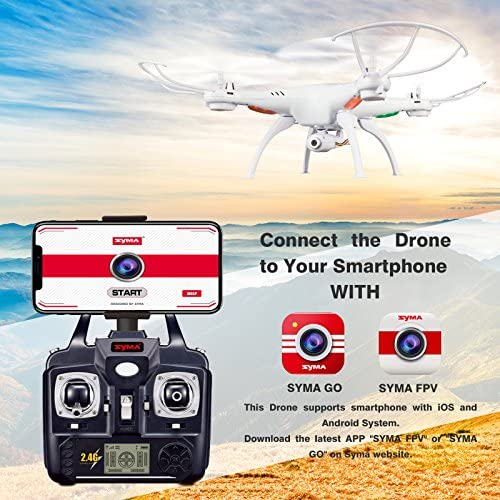 61cxY yeBDL. AC  - Cheerwing Syma X5SW-V3 WiFi FPV Drone 2.4Ghz 4CH 6-Axis Gyro RC Quadcopter Drone with Camera, White