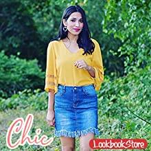 7c7c5213 1a1f 42c5 8447 c24505d72883.  CR0,0,300,300 PT0 SX220 V1    - LookbookStore Women's V Neck Mesh Panel Blouse 3/4 Bell Sleeve Loose Top Shirt