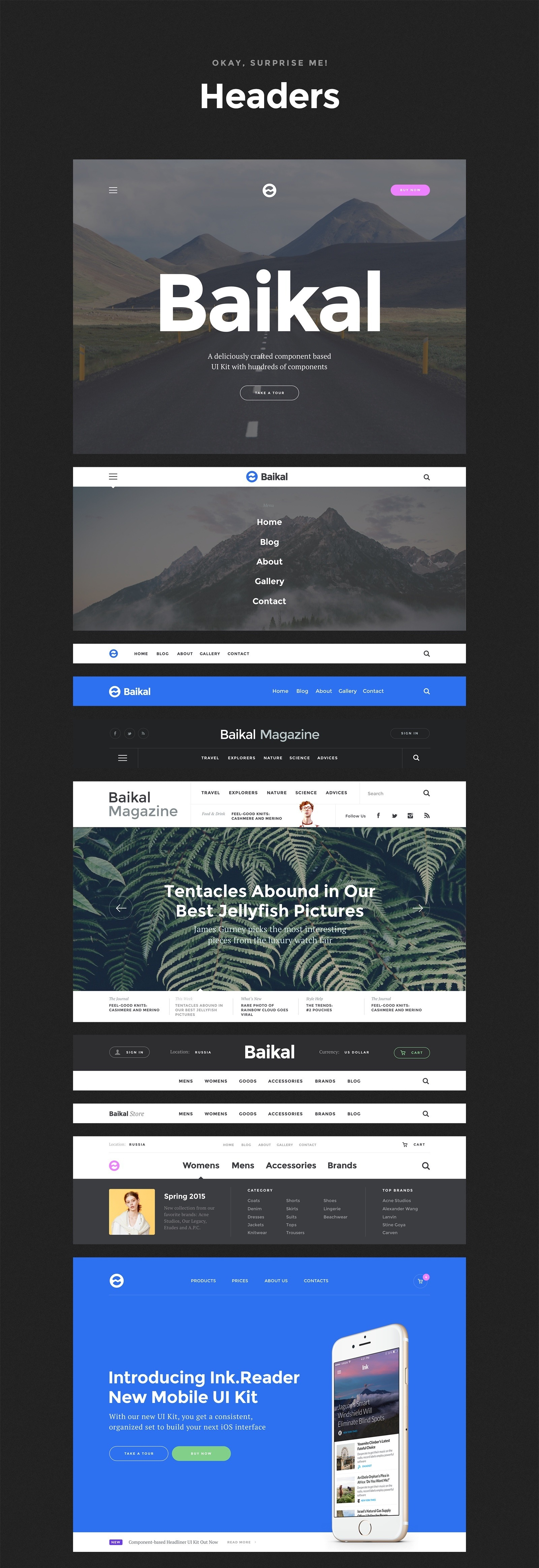 8 Headers - Baikal UI Kit - Huge Set Of UI Components