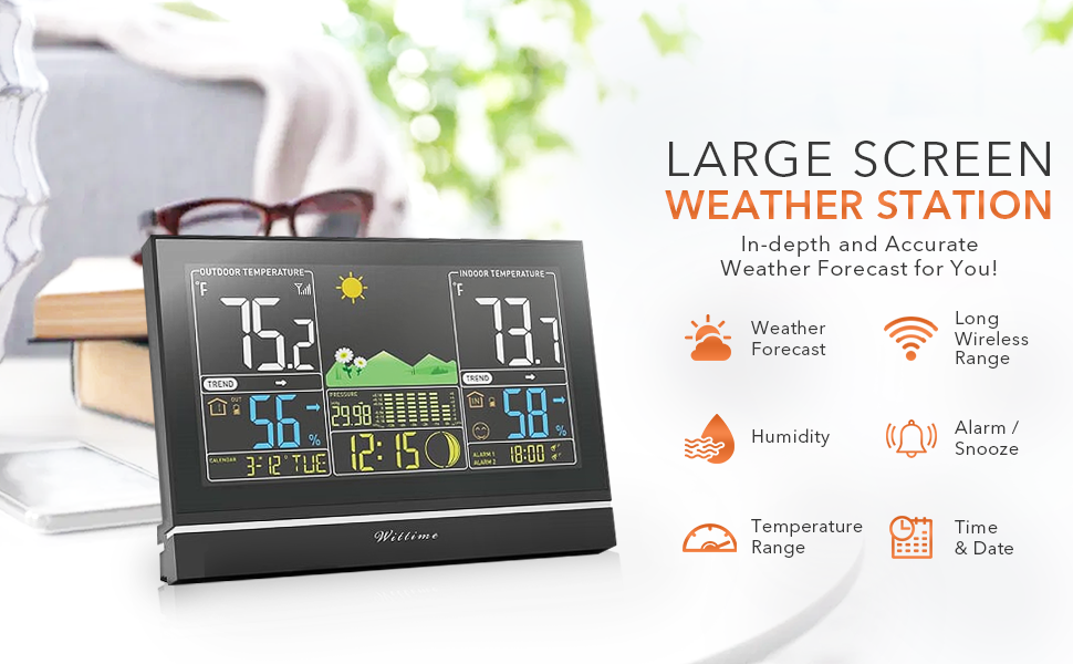 8c7415ba d71d 45f3 add8 884f01e26b9d.  CR0,0,970,600 PT0 SX970 V1    - Wittime Latest 2076 Weather Station, Wireless Indoor Outdoor Thermometer, High Precision Temperature and Humidity, Weather Forecast and Barometer, Calendar with Moon Phase, 7.5-inch HD Large Screen