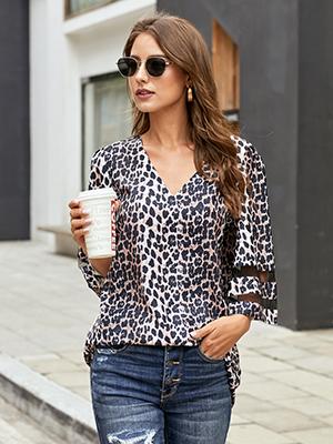 939d4f2a dc8d 4253 b638 123452f68efb.  CR0,0,300,400 PT0 SX300 V1    - LookbookStore Women's V Neck Mesh Panel Blouse 3/4 Bell Sleeve Loose Top Shirt