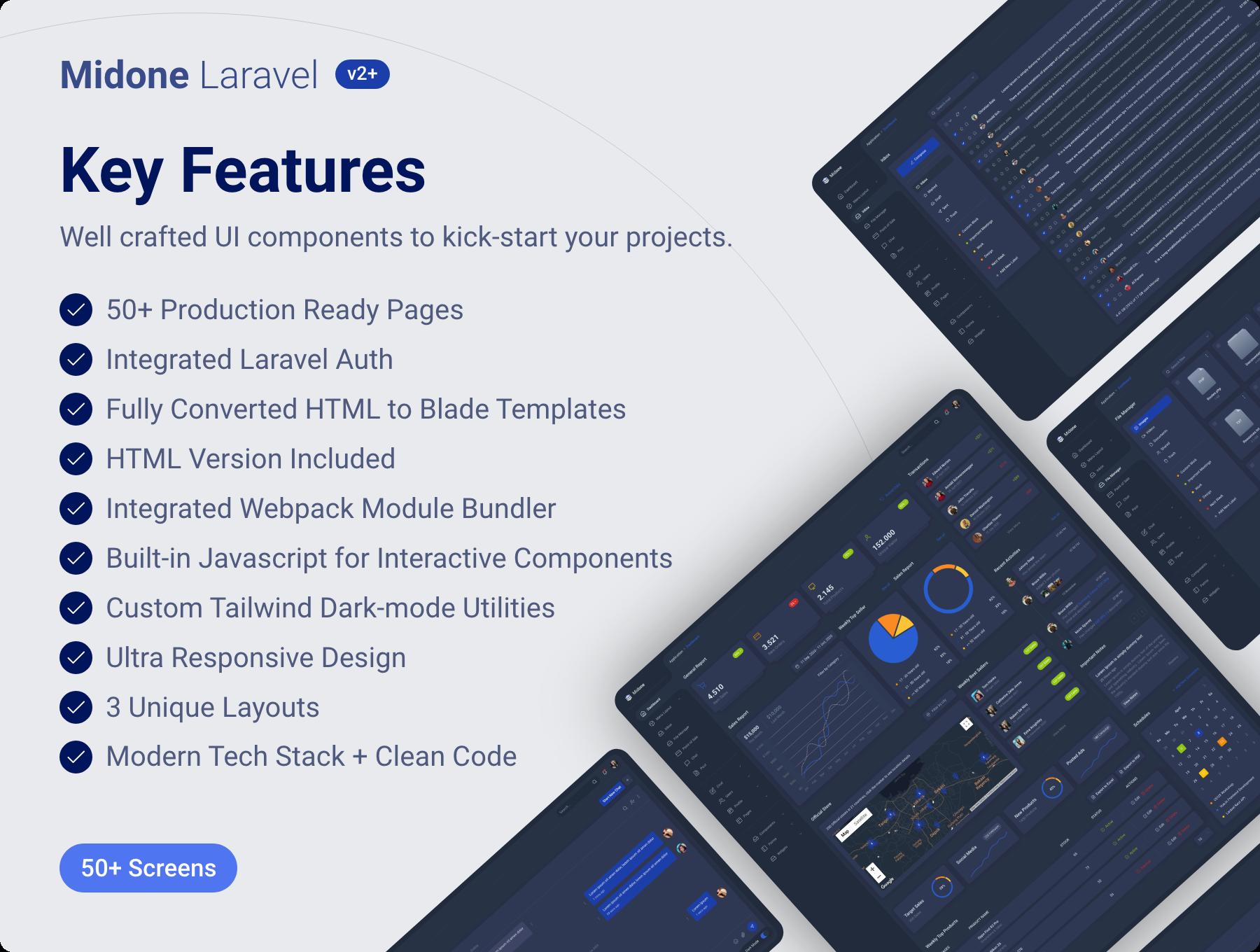 Laravel%20 %20Highlights - Midone - Laravel 8 Admin Dashboard Template + HTML Version + XD Design File