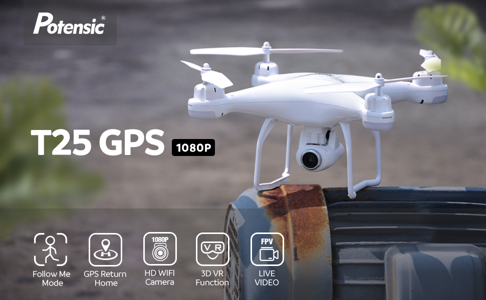 a50e5844 a1f5 4a27 9c1c c12b53f36a09. CR0,0,970,600 PT0 SX970   - Potensic T25 GPS Drone, FPV RC Drone with Camera 1080P HD WiFi Live Video, Dual GPS Return Home, Quadcopter with Adjustable Wide-Angle Camera- Follow Me, Altitude Hold, Long Control Range, White