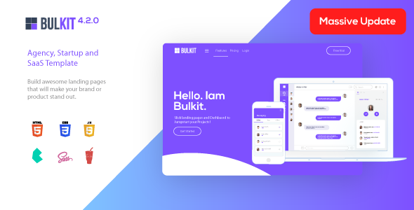 bulkit preview.  large preview - Bulkit - Saas Landing Pages