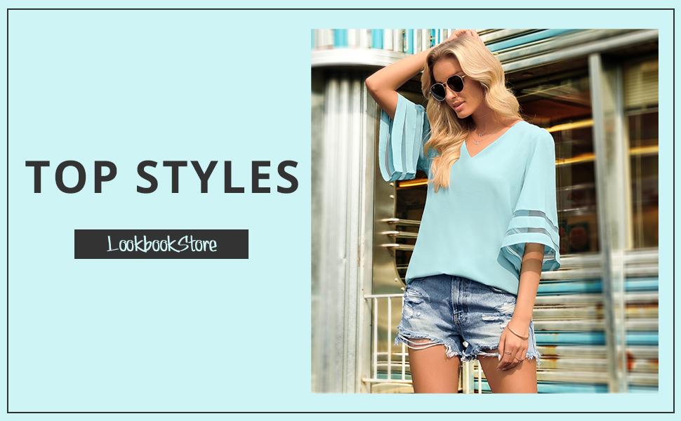 c43238ea 349d 4d0e af97 851dd1d15fef.  CR0,0,970,600 PT0 SX970 V1    - LookbookStore Women's V Neck Mesh Panel Blouse 3/4 Bell Sleeve Loose Top Shirt