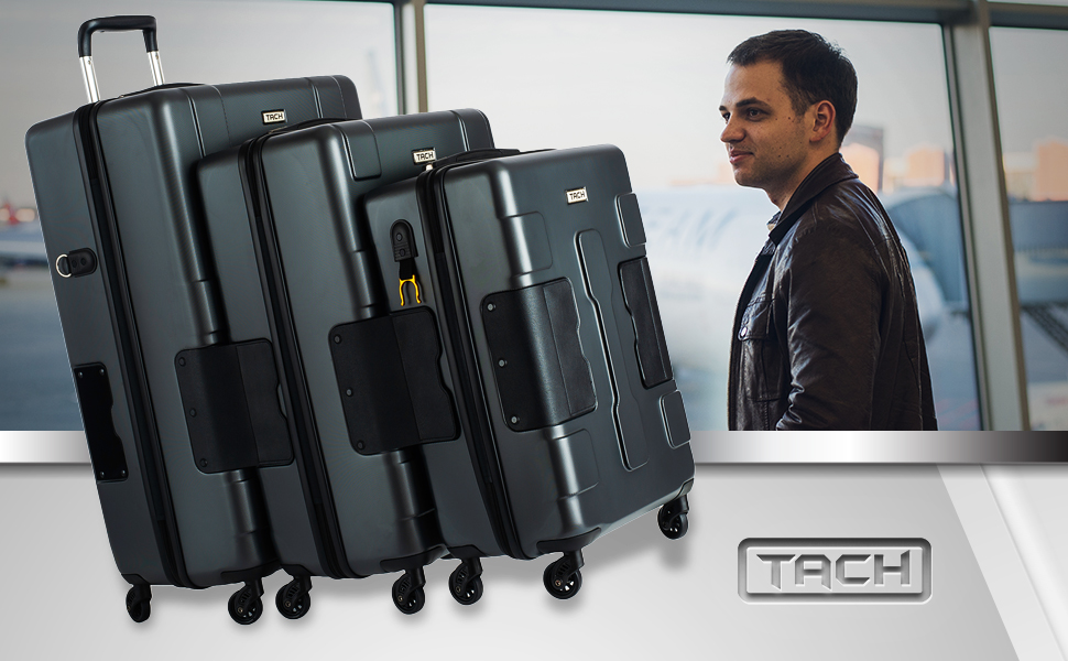 cfca8612 7aa8 4150 9406 560518fcc8c1. CR0,0,970,600 PT0 SX970   - TACH V3 Hard Shell Carry On Luggage 22x14x9 | Carry on Luggage with Spinner Wheels & Patented Built-In Connecting System | One Piece Rolling Suitcase Links 6 Bags At Once (Red)