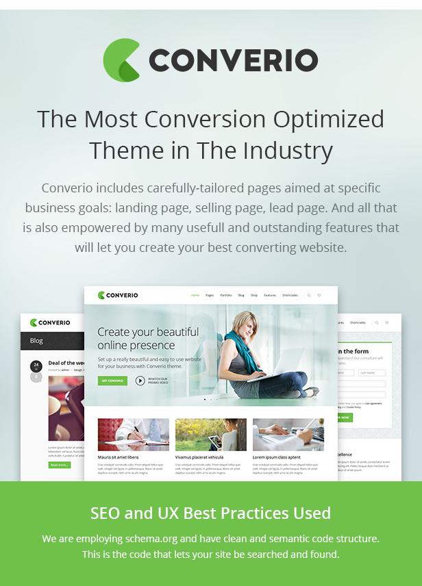 conversion optimized - Converio - Responsive Multi-Purpose WordPress Theme