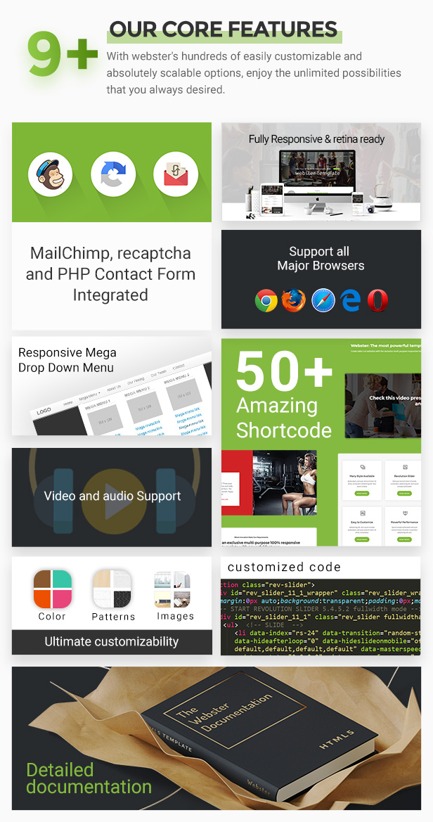 core feature - Webster - Responsive Multi-purpose HTML5 Template