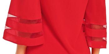 d873698d aadb 4891 801c a060ec0d0438.  CR0,0,350,175 PT0 SX350 V1    - LookbookStore Women's V Neck Mesh Panel Blouse 3/4 Bell Sleeve Loose Top Shirt