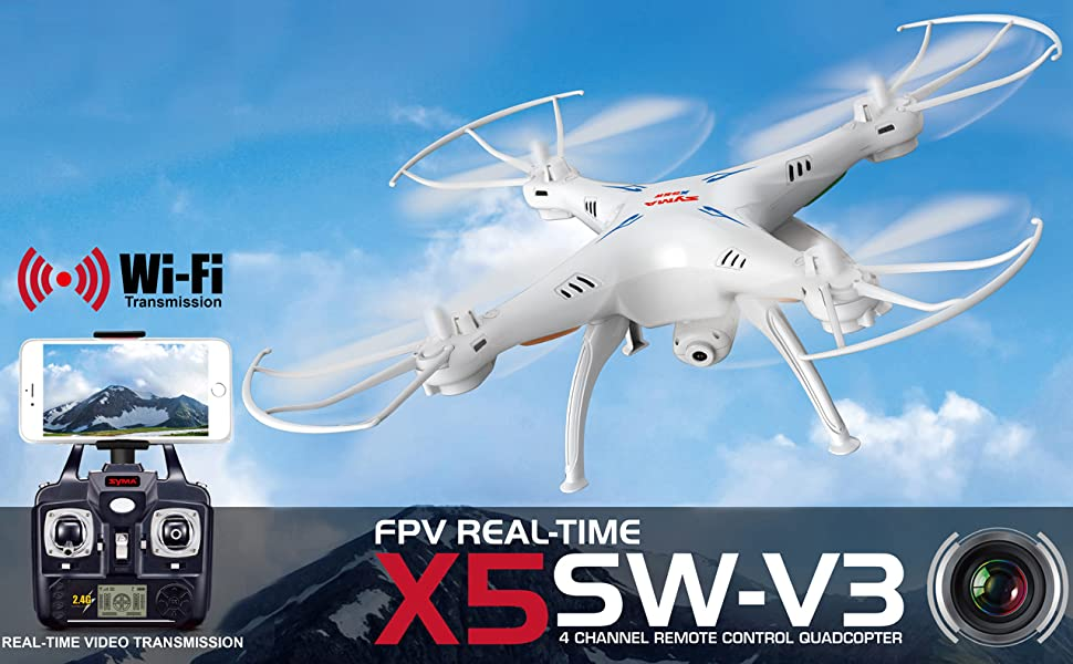 e2b52c2f 3f4e 4294 89b8 5a08f2d2f45d. CR43,0,1277,790 PT0 SX970   - Cheerwing Syma X5SW-V3 WiFi FPV Drone 2.4Ghz 4CH 6-Axis Gyro RC Quadcopter Drone with Camera, White