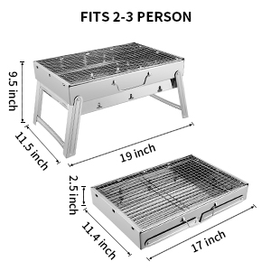 e61cb4d2 e483 4faf 9fc2 407d86b482ec.  CR0,0,300,300 PT0 SX300 V1    - Sunkorto 15.4x10.6x8 Inch Folded Charcoal BBQ Grill Set, Stainless Steel Portable Folding Charcoal Barbecue Grill, Barbecue Tool Kits for Outdoor Picnic Patio Backyard Camping Cooking