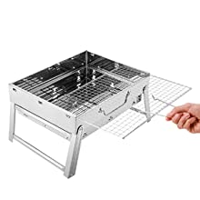 e7d62b41 f989 43f3 bc5d 020e250d8958.  CR0,0,300,300 PT0 SX220 V1    - Sunkorto 15.4x10.6x8 Inch Folded Charcoal BBQ Grill Set, Stainless Steel Portable Folding Charcoal Barbecue Grill, Barbecue Tool Kits for Outdoor Picnic Patio Backyard Camping Cooking