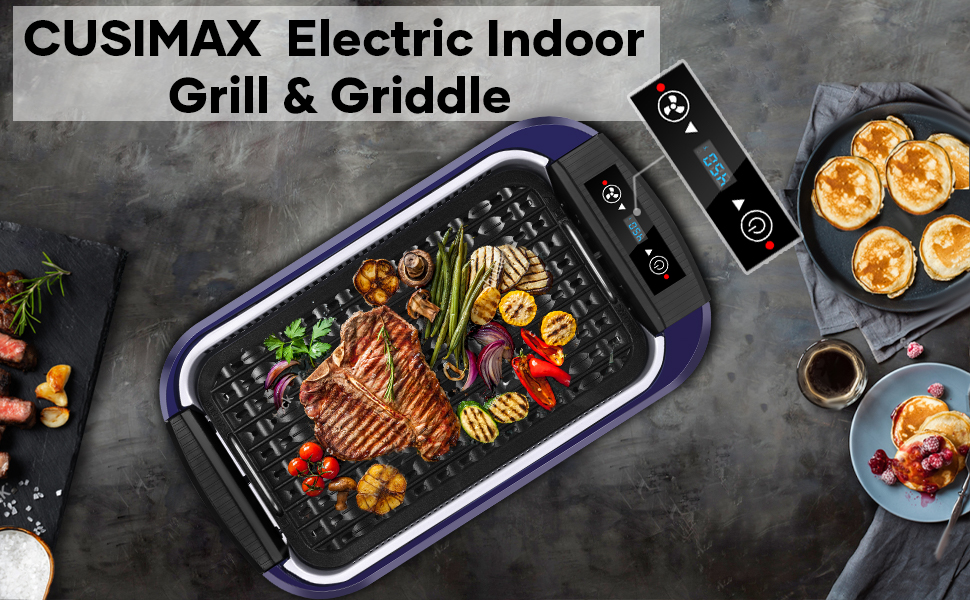 eee4409e 53b3 458b bfb9 510eb03136bf.  CR0,0,970,600 PT0 SX970 V1    - Indoor Grill Electric Grill Griddle CUSIMAX Smokeless Grill, Portable Korean BBQ Grill with Turbo Smoke Extractor Technology, Non-stick Removable Plates, Dishwasher-Safe, Tempered Glass Lid,1500W
