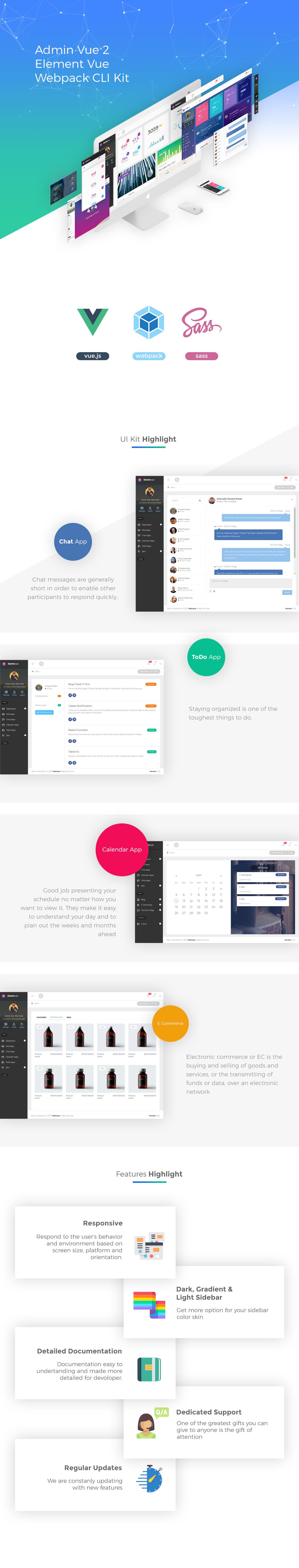 features devin 2 - Devinvue - Admin Vue 2 and Element + Vue Webpack CLI Kit