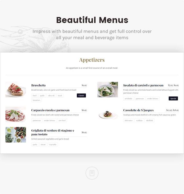 linguini restaurant theme beautiful menus - Linguini — Restaurant WordPress Theme