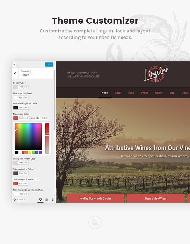 linguini restaurant theme customizer - Linguini — Restaurant WordPress Theme