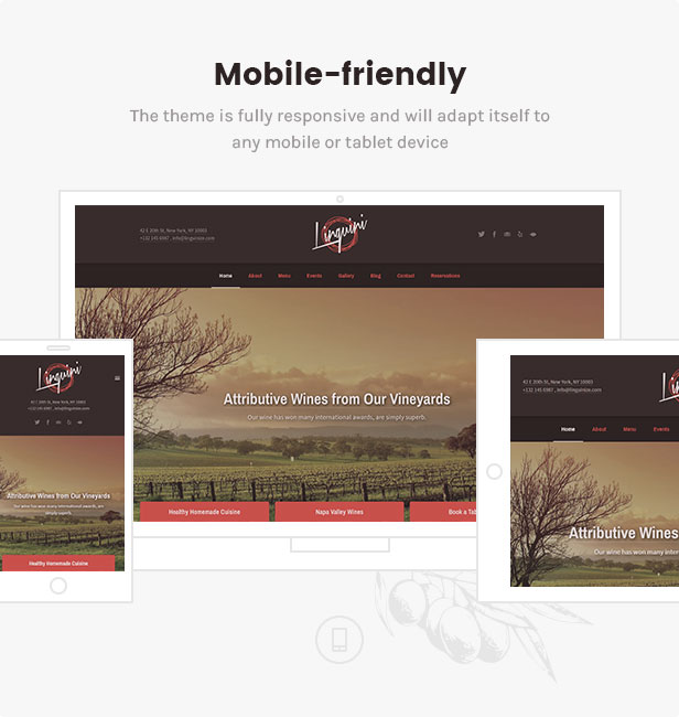 linguini restaurant theme mobile friendly - Linguini — Restaurant WordPress Theme
