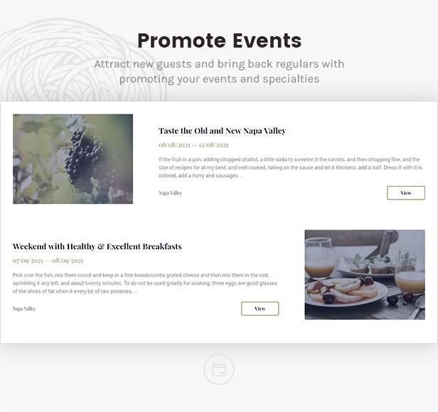 linguini restaurant theme promote events - Linguini — Restaurant WordPress Theme